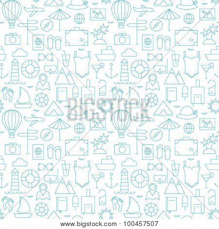 Thin Summer Line Travel And Resort White Seamless Pattern