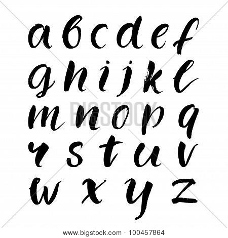 Hand drawn brush lowercase alphabet. Black vector letters isolated on white background