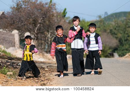 Unidentified H'mong ethnic minority children in a festival in Mocchau, Vietnam.