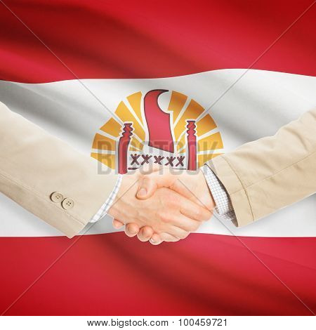 Businessmen Handshake With Flag On Background - French Polynesia