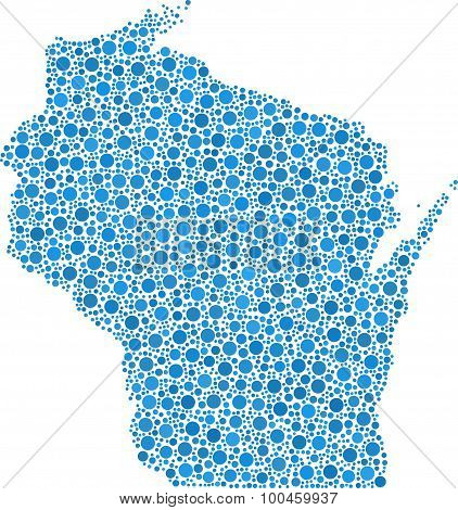Isolated map of Wisconsin - USA -