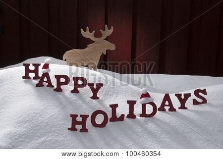 Happy Holidays Snow Moose Santa Hat
