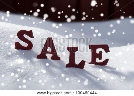Word Christmas Sale On Snow And Snowflakes