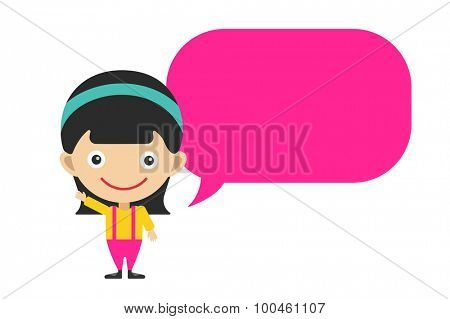 Vector cute cartoon girl and bubble. Kids girl isolated. Small kid, schildren clothes. Kids talking. Kids background. Children vector people. Vector kid, teen, smile face, kids people silhouette