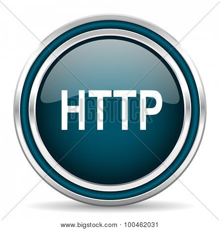 http blue glossy web icon with double chrome border on white background with shadow