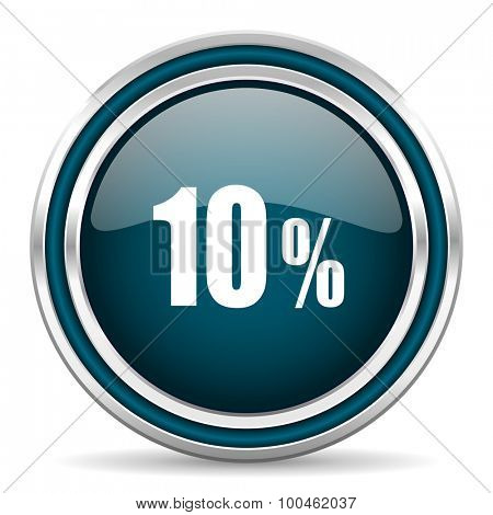 10 percent blue glossy web icon with double chrome border on white background with shadow
