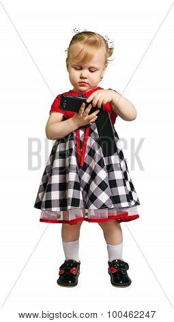 Little Girl Holding A Smartphone On White Isolate