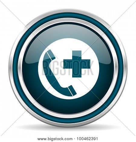 emergency call blue glossy web icon with double chrome border on white background with shadow