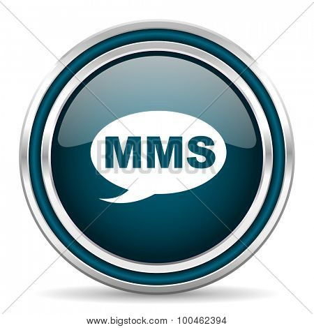 mms blue glossy web icon with double chrome border on white background with shadow