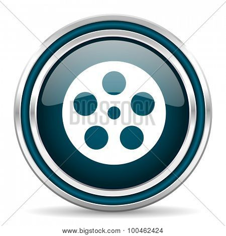 film blue glossy web icon with double chrome border on white background with shadow