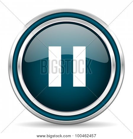 pause blue glossy web icon with double chrome border on white background with shadow