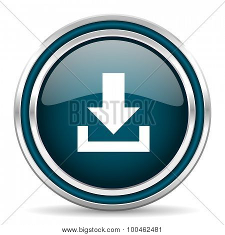 download blue glossy web icon with double chrome border on white background with shadow