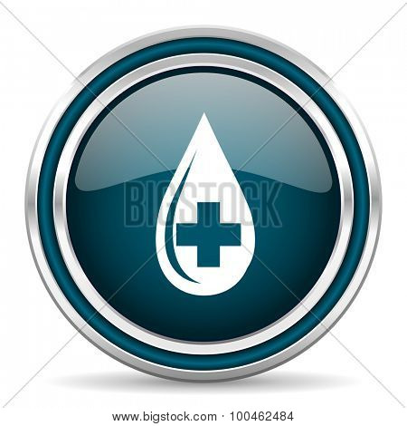 blood blue glossy web icon with double chrome border on white background with shadow
