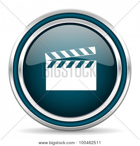 video blue glossy web icon with double chrome border on white background with shadow