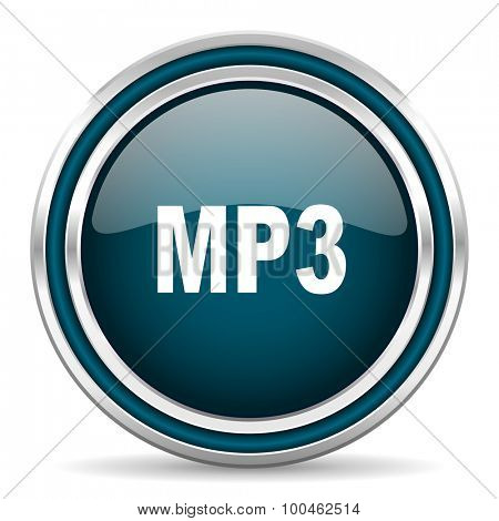 mp3 blue glossy web icon with double chrome border on white background with shadow