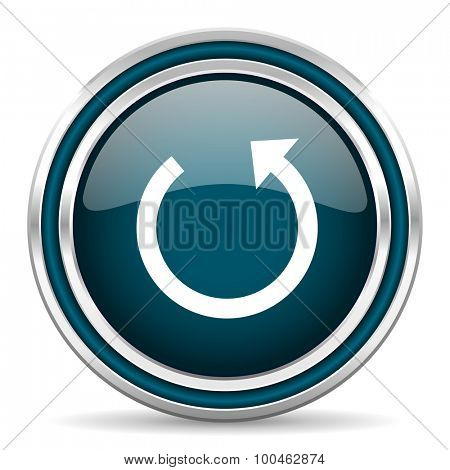 rotate blue glossy web icon with double chrome border on white background with shadow
