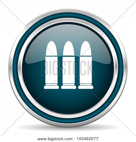 ammunition blue glossy web icon with double chrome border on white background with shadow