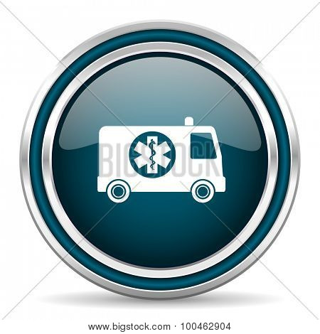 ambulance blue glossy web icon with double chrome border on white background with shadow