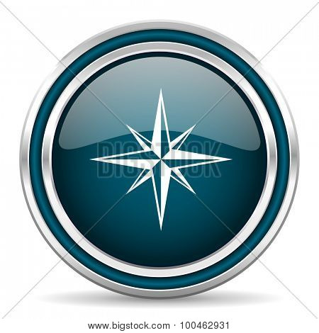 compass blue glossy web icon with double chrome border on white background with shadow