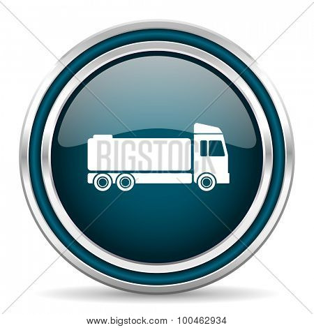 truck blue glossy web icon with double chrome border on white background with shadow