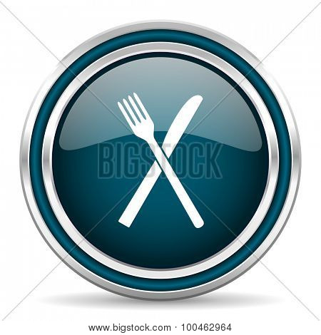 restaurant blue glossy web icon with double chrome border on white background with shadow
