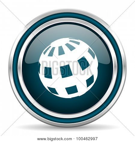 earth blue glossy web icon with double chrome border on white background with shadow