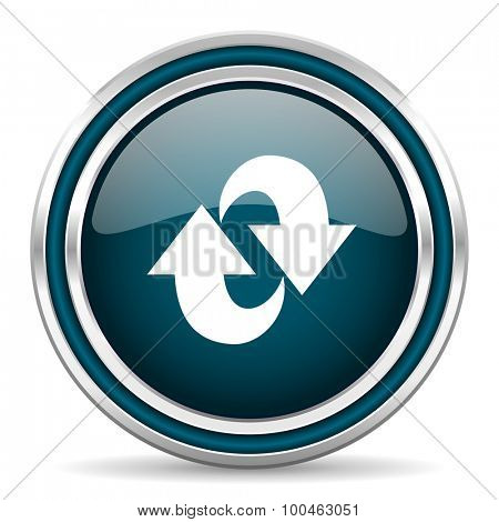 rotation blue glossy web icon with double chrome border on white background with shadow