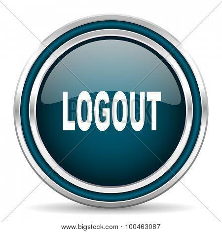 logout blue glossy web icon with double chrome border on white background with shadow