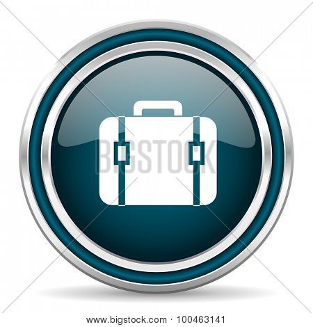 bag blue glossy web icon with double chrome border on white background with shadow
