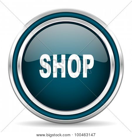 shop blue glossy web icon with double chrome border on white background with shadow