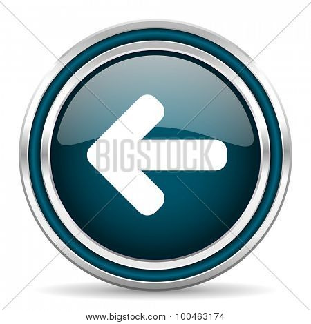 left arrow blue glossy web icon with double chrome border on white background with shadow