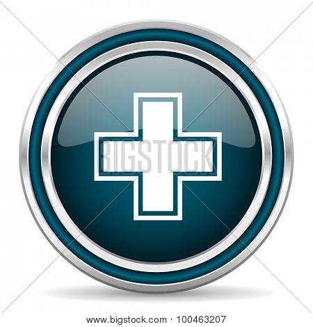 pharmacy blue glossy web icon with double chrome border on white background with shadow