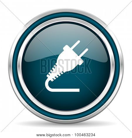 plug blue glossy web icon with double chrome border on white background with shadow