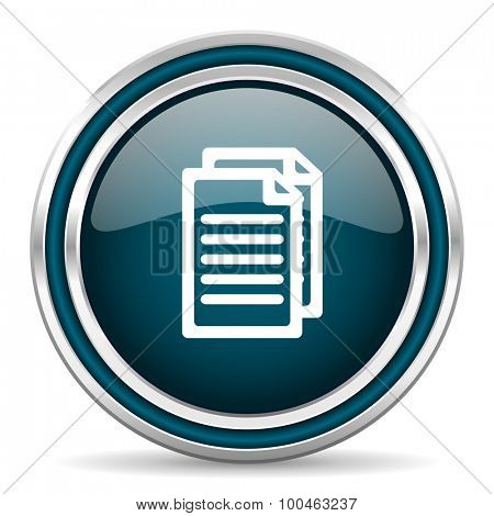 document blue glossy web icon with double chrome border on white background with shadow