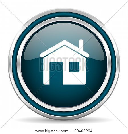 house blue glossy web icon with double chrome border on white background with shadow