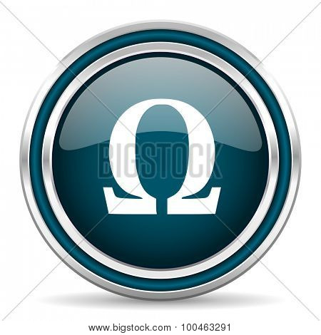 omega blue glossy web icon with double chrome border on white background with shadow