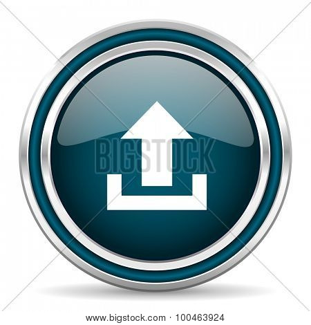 upload blue glossy web icon with double chrome border on white background with shadow