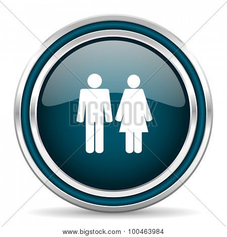 couple blue glossy web icon with double chrome border on white background with shadow