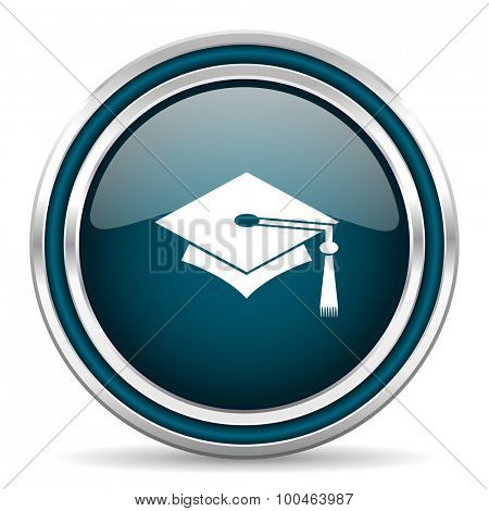 education blue glossy web icon with double chrome border on white background with shadow