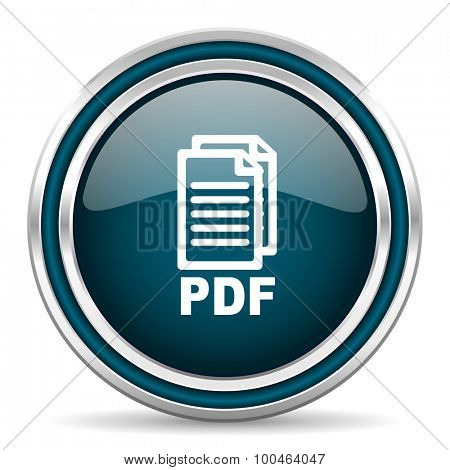 pdf blue glossy web icon, with double chrome border on white background with shadow