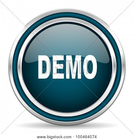 demo blue glossy web icon with double chrome border on white background with shadow