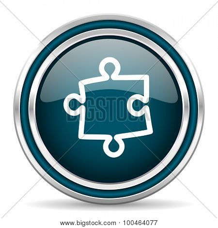 puzzle blue glossy web icon with double chrome border on white background with shadow