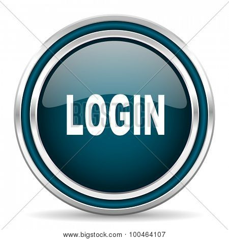 login blue glossy web icon with double chrome border on white background with shadow