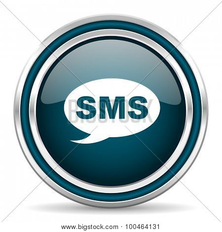 sms blue glossy web icon with double chrome border on white background with shadow