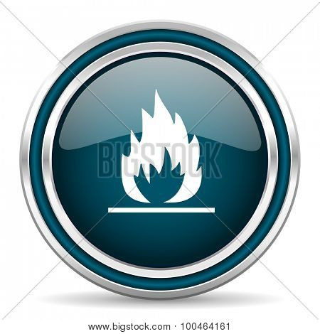 flame blue glossy web icon , round, circle, steel, silver, white, background,modern, shiny, glossy,