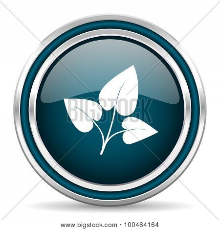 leaf blue glossy web icon , round, circle, steel, silver, white, background,modern, shiny, glossy,