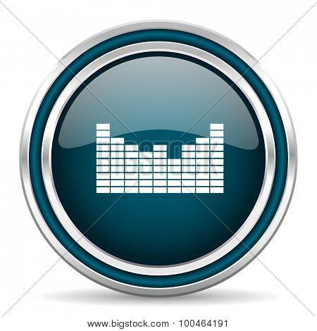 sound blue glossy web icon , round, circle, steel, silver, white, background,modern, shiny, glossy,