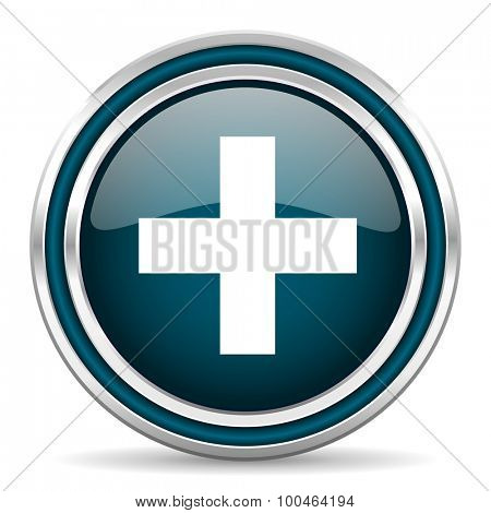 plus blue glossy web icon , round, circle, steel, silver, white, background,modern, shiny, glossy,