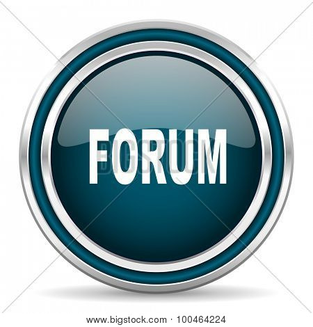forum blue glossy web icon , round, circle, steel, silver, white, background,modern, shiny, glossy,