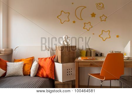 Orange Cushions And Chair
